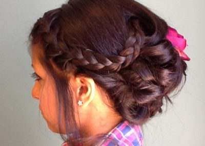 loose braid and formal updo for a woman with long dark hair at Details Salon in Mount Joy, PA