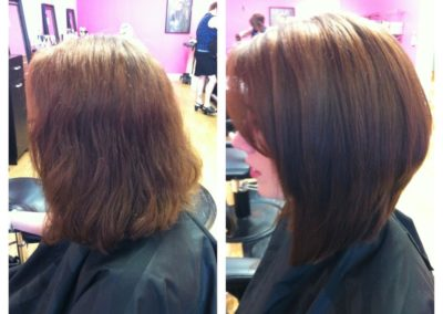 before and after straightening and women's haircut in Mount Joy, PA's Detail Salon