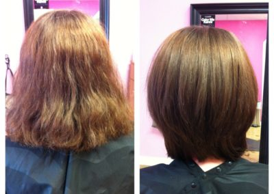 before and after of women's haircut and blowout at Details Salon in Mount Joy, PA