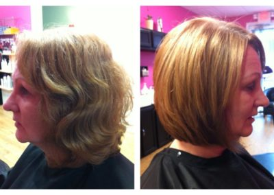 Detail Salon client's before and after color and women's haircut created in Mount Joy, PA