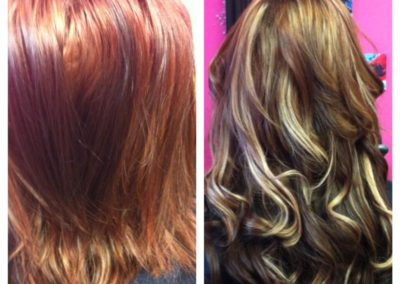 before and after women's haircut, color, and extensions done at Details Salon in Mount Joy, PA