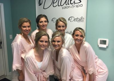 bridal party of six women showing off their wedding hair styles in Mount Joy, PA