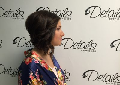 profile of a short formal women's haircut created at Details Salon & Spa in Mount Joy, PA