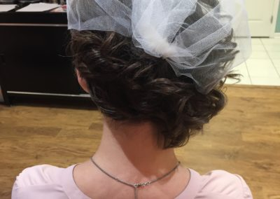 formal bridal updo with veil created at Details Salon & Spa in Mount Joy, PA