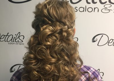 long and curly formal hairstyle created at Details Salon & Spa in Mount Joy, PA