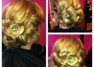 three views of a woman's haircut and bridal up-do accented with decorative pins at Details Salon in Mt. Joy, PA