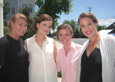 bridal party of four women showing off their wedding up-do styles in Mount Joy, PA