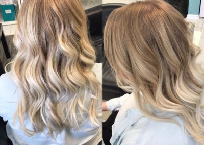 long wavy blonde women's haircut shown from the back and side view at Details Salon in Mount Joy, PA