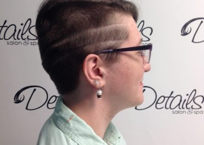 Details Salon in Mount Joy, PA customer displaying her closely shaved women's haircut