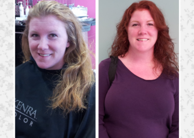Details Salon in Mount Joy, PA before and after of a woman's haircut and color from blonde to red