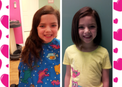 before and after of a child who received a haircut and donated to Locks of Love at Details Salon & Spa