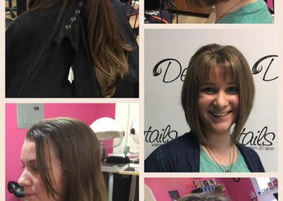five images of a Details Salon customer who received a women's haircut from long dark hair to a short cropped look