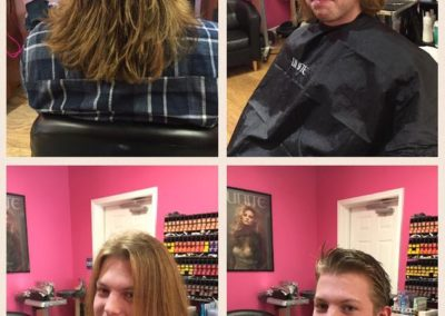 four before and after photos displaying shoulder length to a short faded men's hair cut at Details Salon in Mount Joy, PA