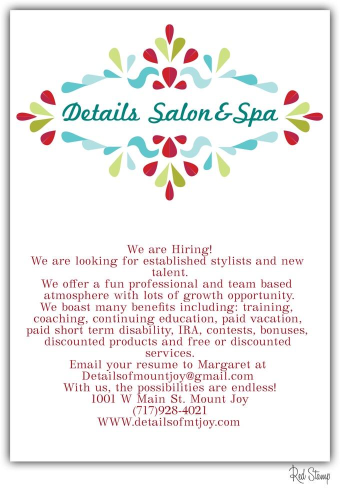 Apply for Mount Joy PA Hair Salon
