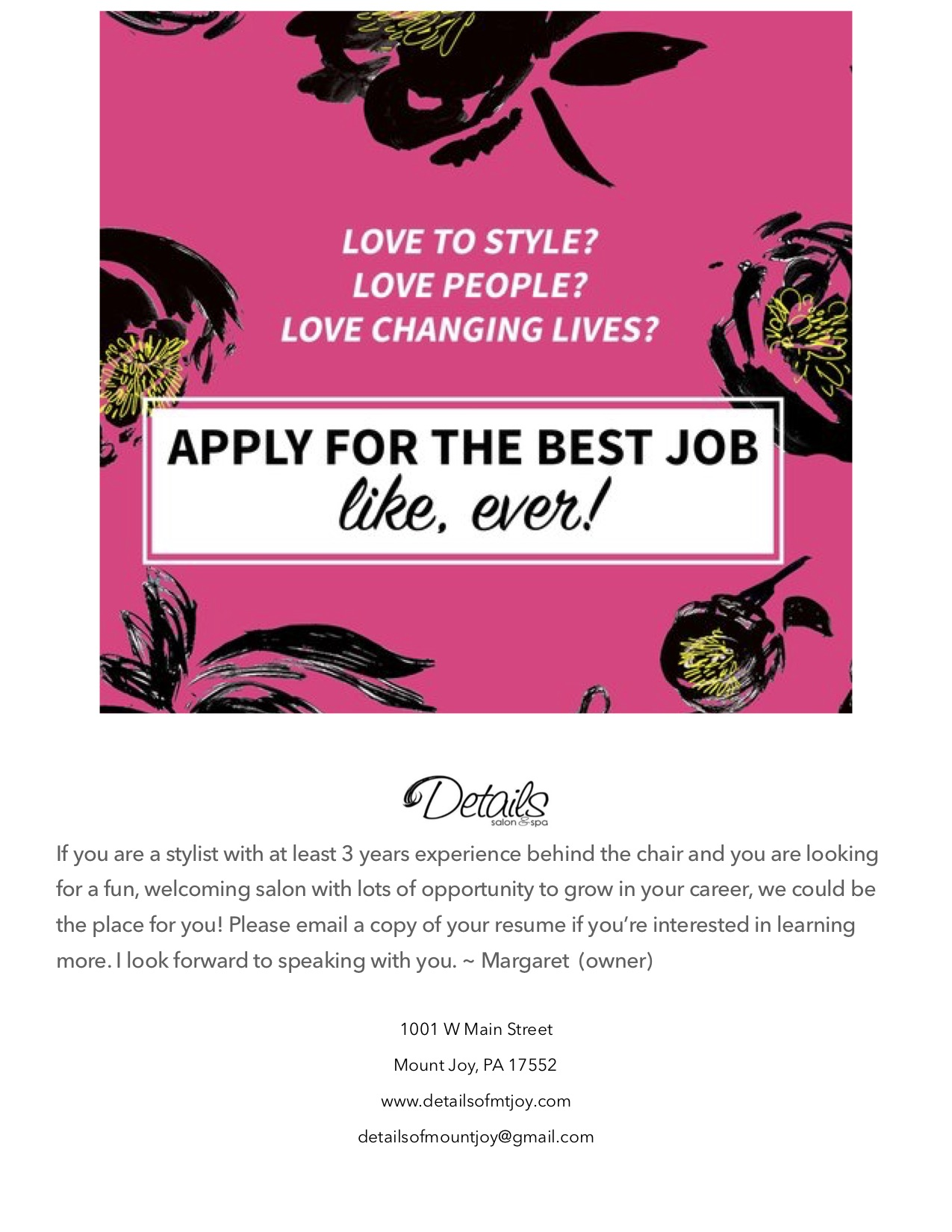 apply to become a hair stylist in mount joy pa