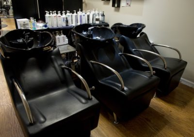 three chairs at the hair wash station at Details Salon & Spa in Mount Joy, PA
