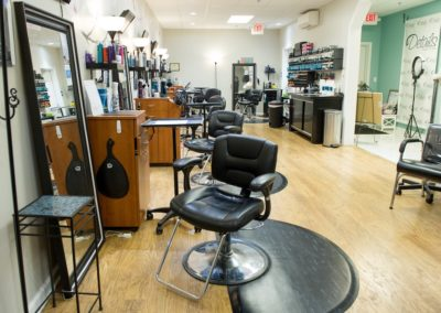 main floor of Details Salon & Spa in Mount Joy, PA with several hairstyling stations
