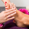 woman getting foot massage during pedicure at mount joy pa hair salon