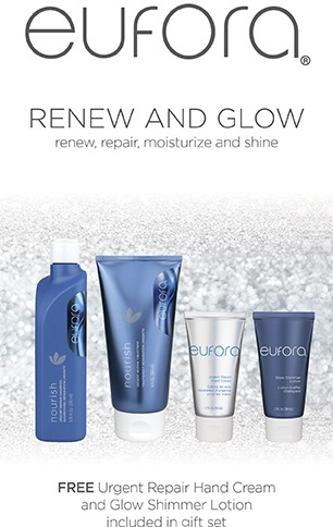 promotional flyer for free Eufora urgent repair hand cream and glow shimmer lotion