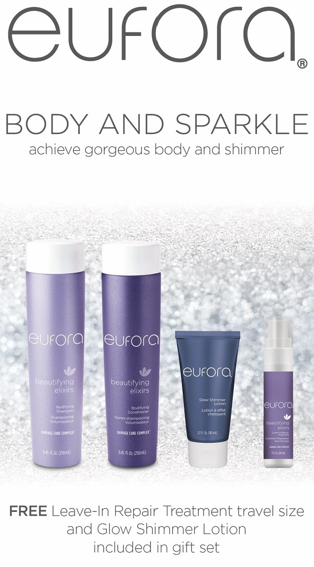 Promotional flyer for free Eufora leave-in repair treatment and glow shimmer lotion