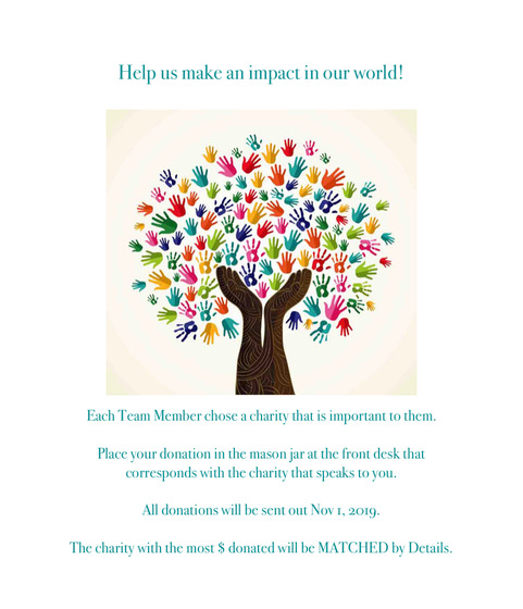 Details Salon promotion flyer in October 2019 requests donations for charities chosen by team members.