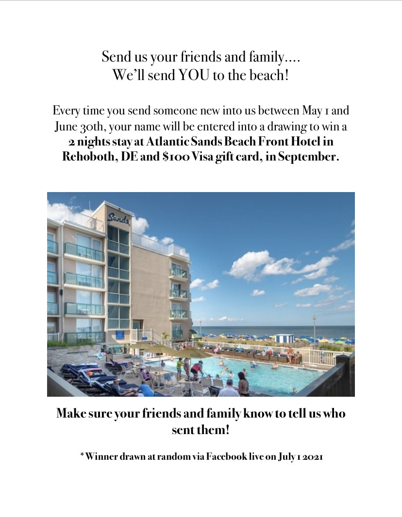 Promotion flyer with details on how to win a beach trip after referring friends and family.