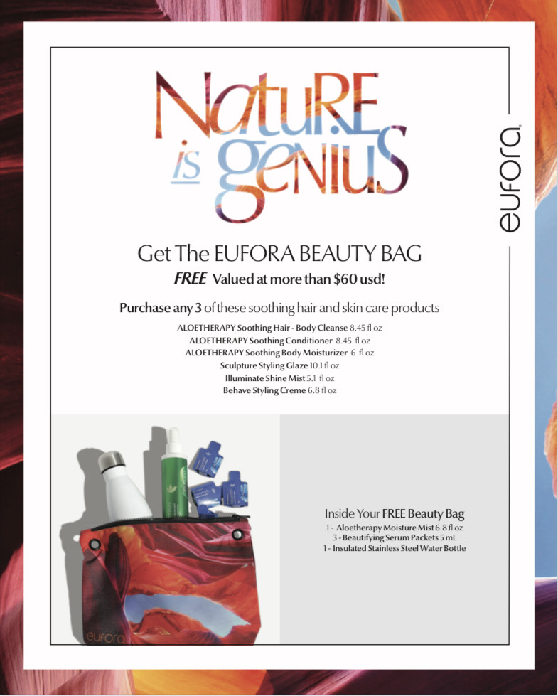 Promotional flyer with details on how to receive a free Eufora beauty bag